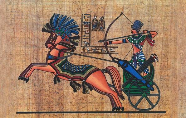 Картинка поверхность, стена, война, колесница, текстура, лук, фараон, иероглифы, стрельба, рельеф, древнего, XIX, Египта, папирус, wallpaper., …