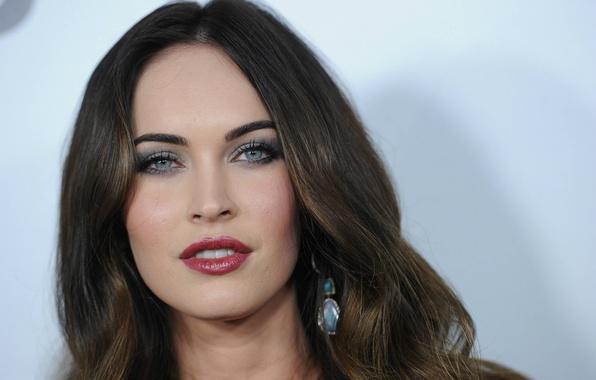 Картинка лицо, Меган Фокс, Megan Fox, портрет, макияж, актриса, брюнетка