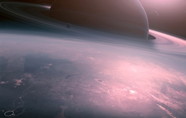 Картинка космос, восход, фантастика, планеты, арт, deviantART, QAuZ, Calm Sunrise