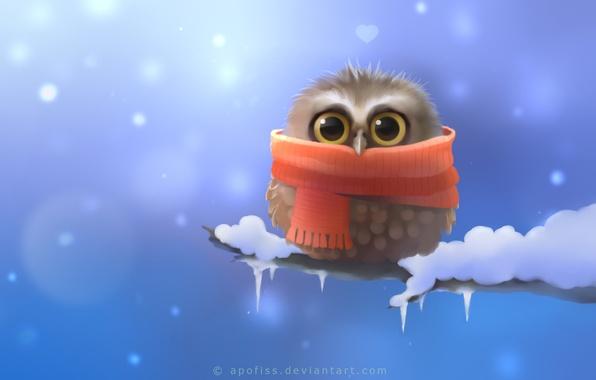 Картинка снег, сова, птица, ветка, шарф, арт, сердечко, Apofiss, совенок
