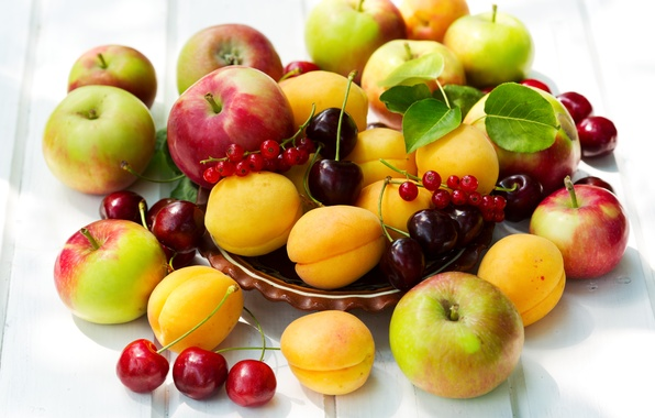 Картинка ягоды, яблоки, фрукты, смородина, черешня, абрикосы, fruits, berries