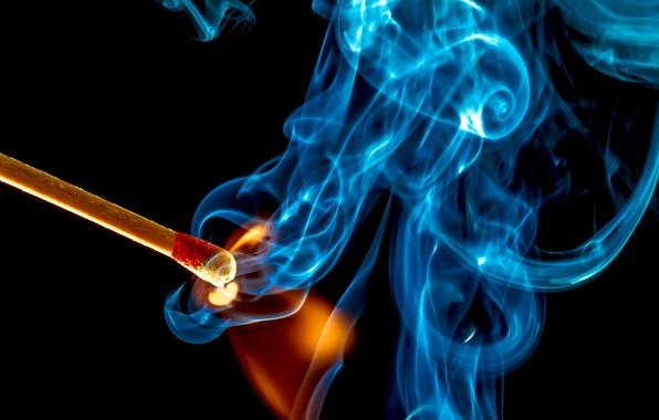 Картинка макро, огонь, дым, спичка