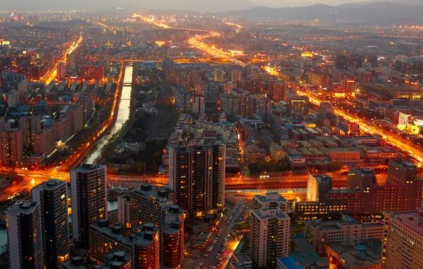 Картинка lights, огни, China, здания, Китай, Beijing, buildings, Пекин, cityscape midnight, городской пейзаж полуночи