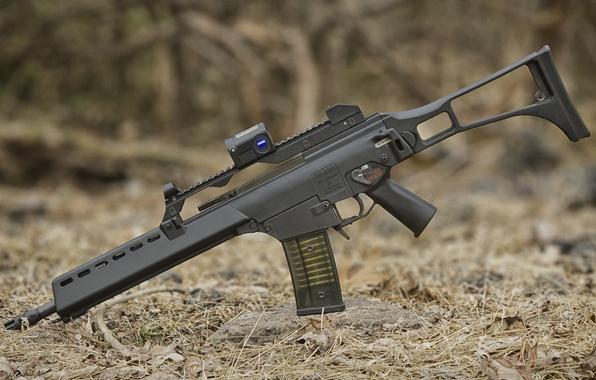 Картинка автомат, assault rifle, штурмовая винтовка, HK G36K, сухие иголки