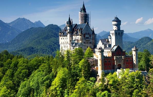 Картинка замок, Germany, mountain, Нойшванштайн, Bavaria, Alps, Neuschwanstein Castle