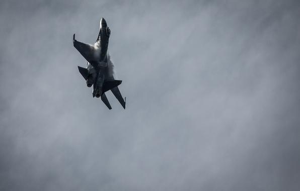 Картинка полет, истребитель, Су-35, реактивный, многоцелевой
