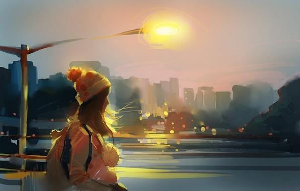 Картинка девушка, город, река, ветер, шапка, арт, фонарь, рюкзак