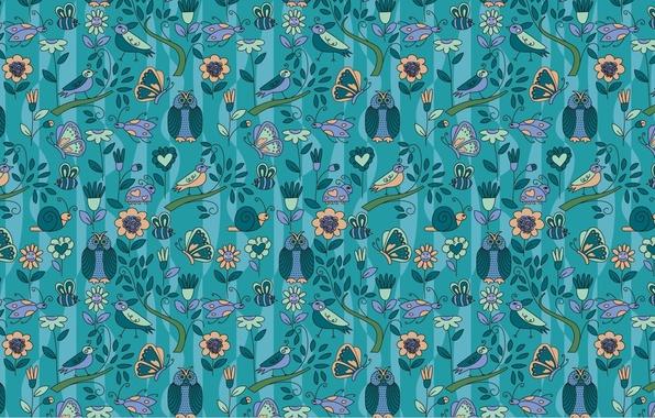 Картинка бабочки, фон, голубой, цвет, улитки, текстура, сердечки, птички, цветочки, совы, божьи коровки