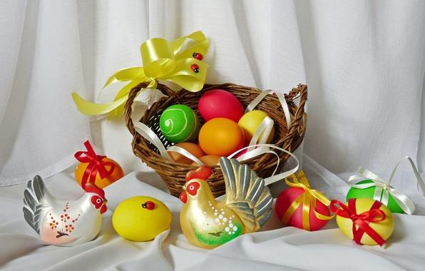 Картинка яйца, весна, пасха, натюрморт, корзинка