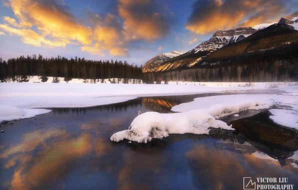 Картинка зима, лес, снег, закат, горы, природа, озеро