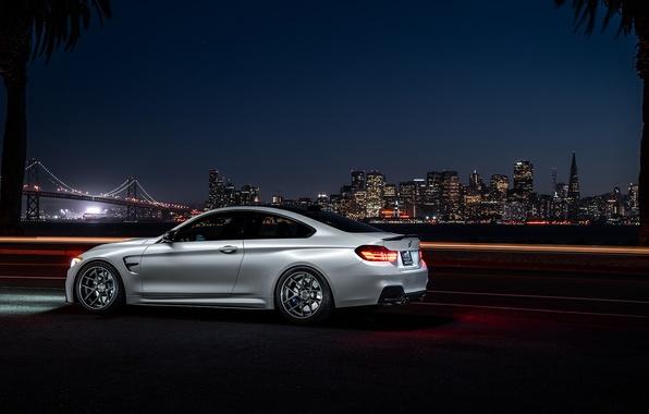 Картинка BMW, City, Car, Bridge, White, Collection, Aristo, F82, Rear, Ligth, Nigth