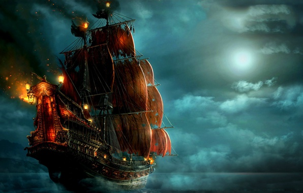 Картинка море, облака, ночь, огни, луна, корабль, пираты