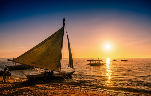 Картинка море, закат, лодки, Филиппины, Philippines, Boracay, Боракай, paraw