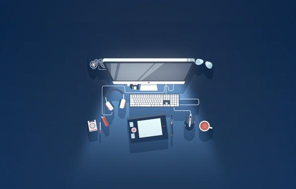 Картинка компьютер, минимализм, монитор