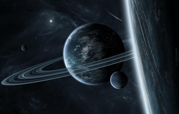 Картинка планеты, кольца, спутники, звездная система, межзвездный газ