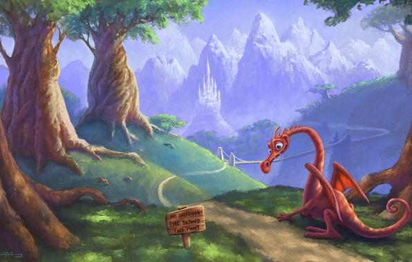 Картинка дорога, табличка, дракон