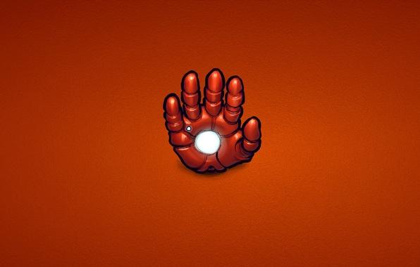 Картинка красный, сталь, рука, минимализм, железный человек, marvel, комикс, iron man