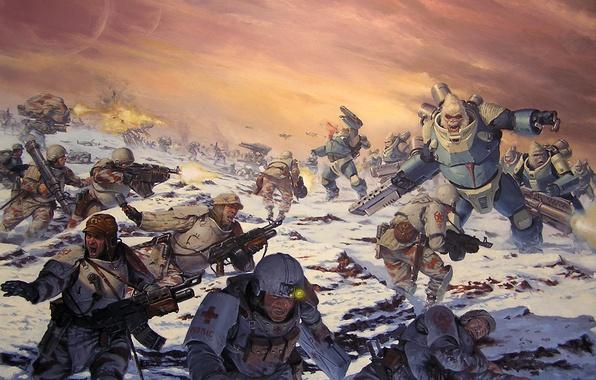 Картинка война, взрывы, солдаты, Красные, броня, против, медик, karl kopinski, AT-43, обезьян