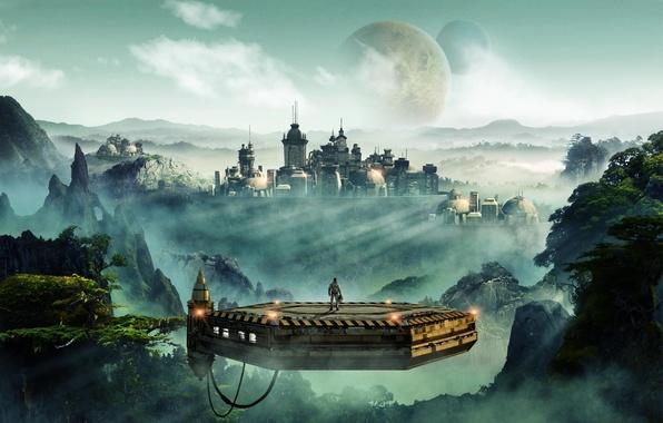 Картинка лес, city, город, туман, скала, будущее, рассвет, луна, планета, космонавт, future, moon, rock, forest, платформа, …