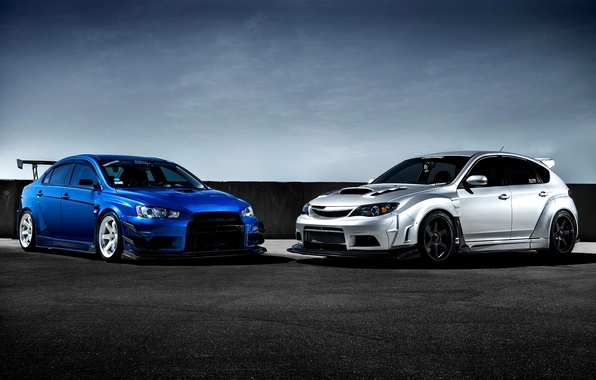 Картинка Subaru, Impreza, Mitsubishi, Lancer, Evolution, blue, front, silvery, race car, обвес, STi