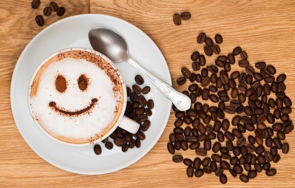 Картинка радость, улыбка, фон, обои, настроения, кофе, зерна, тарелка, чашка, wallpaper, капучино, smile, широкоформатные, background, coffee, ...