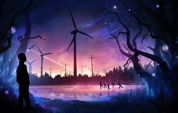 Картинка лед, зима, лес, деревья, вечер, семья, арт, каток