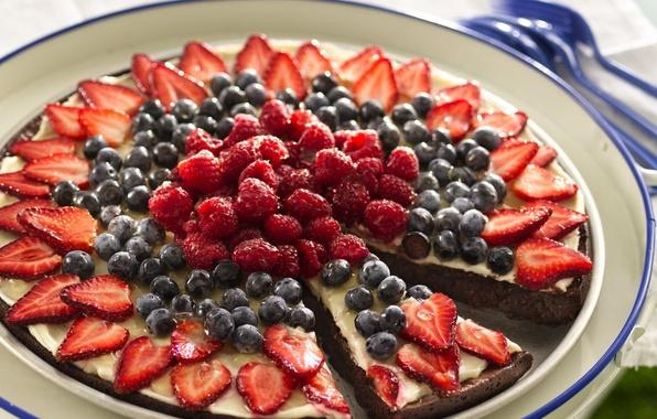 Картинка ягоды, малина, фон, widescreen, обои, еда, черника, клубника, пирог, торт, wallpaper, широкоформатные, background, тортик, сладкое, …