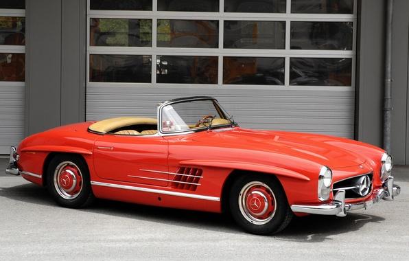 Картинка красный, ретро, кабриолет, mercedes-benz, 300sl