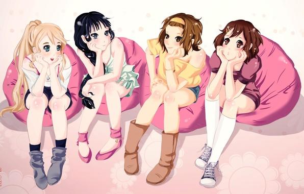 Картинка группа, аниме, девочка, друзья, akiyama mio, k-on, подруги, tainaka ritsu, hirasawa yui, kotobuki tsumugi