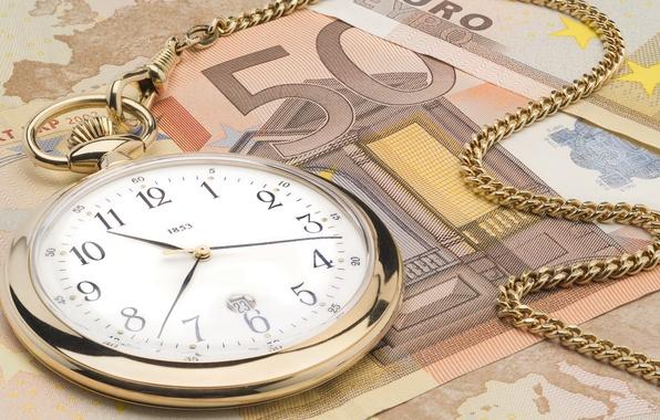 Картинка часы, евро, цепочка, Деньги, время-деньги