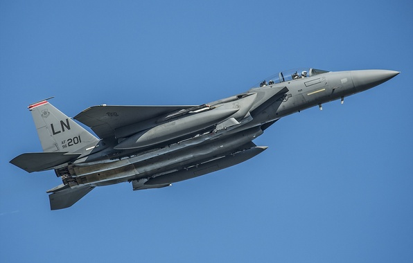 Картинка небо, оружие, самолёт, F15