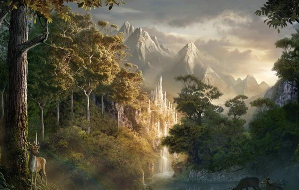 Картинка лес, замок, олень