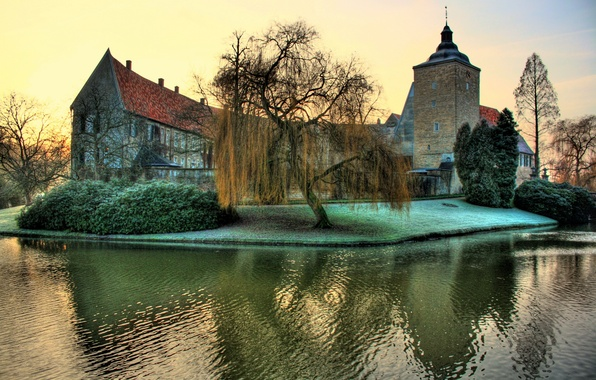 Картинка зелень, река, замок, Германия, крепость, кусты, Steinfurt