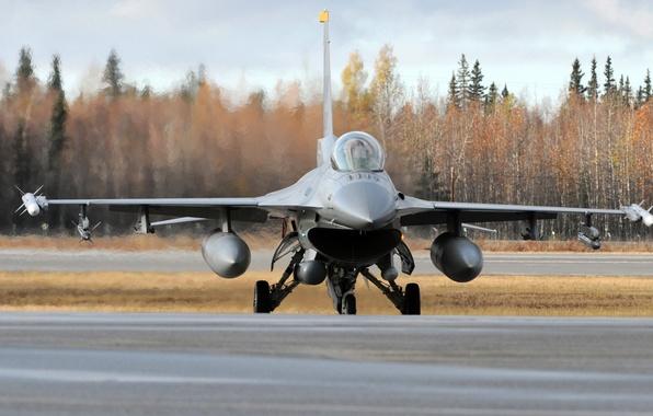 Картинка Самолет, Истребитель, Земля, День, Крылья, Авиация, ВВС, F 16, F 16A