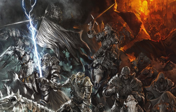 Картинка кони, армия, доспехи, мечи, воины, всадники, скелеты, нежить, мертвых