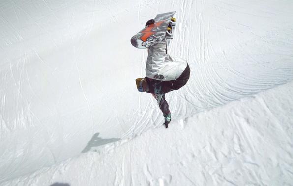 Картинка снег, прыжок, сноуборд
