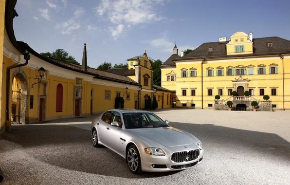 Картинка Maserati, Quattroporte, Дом, Серебро, День