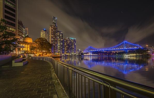 Картинка ночь, огни, река, небоскребы, Австралия, мегаполис, Брисбен, Квинсленд, Story-bridge