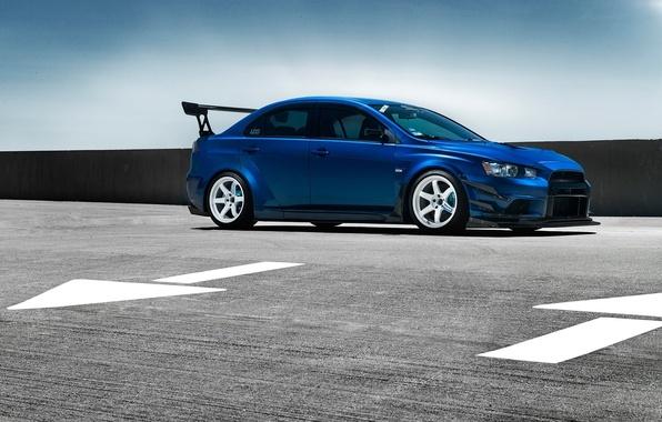 Картинка Mitsubishi, Lancer, Car, Evolution, Blue, Front, Wheels, Spoiler