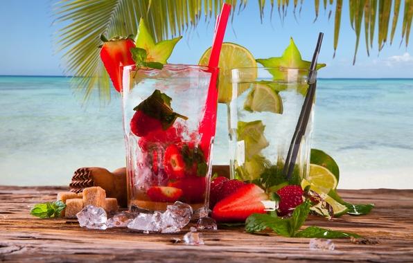 Картинка лед, море, пальма, клубника, коктейль, сахар, лайм, мята