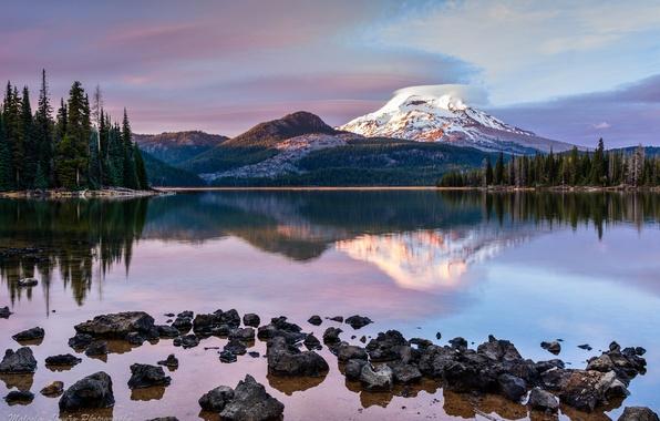 Картинка лес, озеро, гора, вечер, Орегон, США, штат, Рейнир, Каскадные горы, стратовулкан