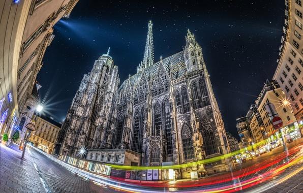 Фото обои огни, Собор Святого Стефана, ночь, Вена, Австрия