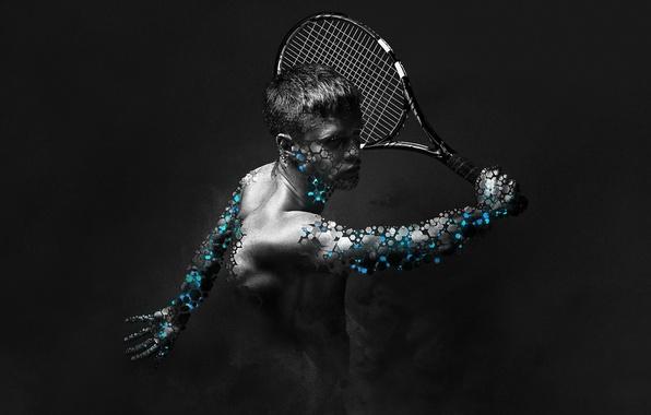 Картинка спорт, игра, большой, арт, ракетка, мужчина, тенис