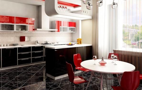 Картинка стол, бокал, стулья, окно, кухня, студия
