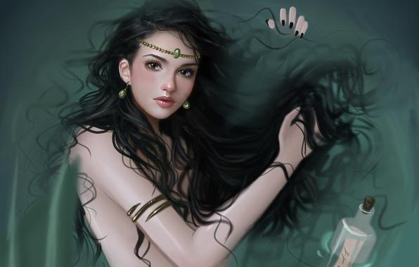 Картинка взгляд, вода, девушка, украшения, волосы, бутылка, русалка, серьги, арт, записка