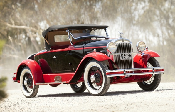 Картинка дорога, красный, ретро, фон, Roadster, пыль, родстер, передок, Speedabout, Essex, by Biddel & Smart, 1929, …