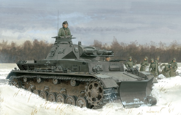 Картинка зима, поле, лес, снег, деревья, рисунок, арт, танк, форма, немцы, фрицы, лопаты, Pz.Kpfw. IV Ausf. …