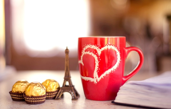 Картинка фон, widescreen, обои, настроения, эйфелева башня, шоколад, кружка, шоколадка, книга, wallpaper, конфета, тетрадь, красная, широкоформатные, …