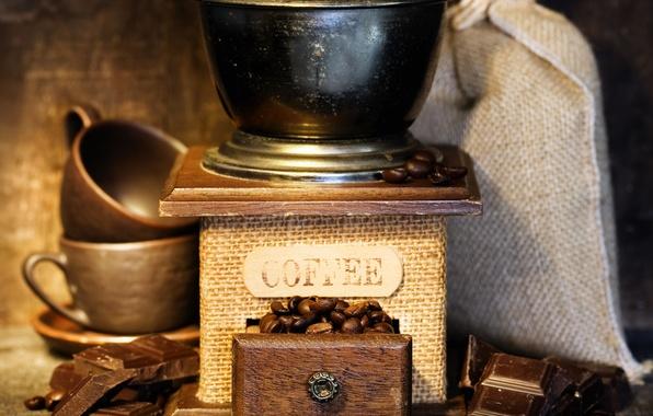 Картинка кофе, шоколад, чашки, зёрна, Coffee, кофейные, chocolate, мешочек, cups, coffee beans, бобы, sack