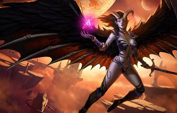 Картинка скалы, магия, планеты, крылья, меч, фэнтези, арт, рога, демоница, летающие, в небе